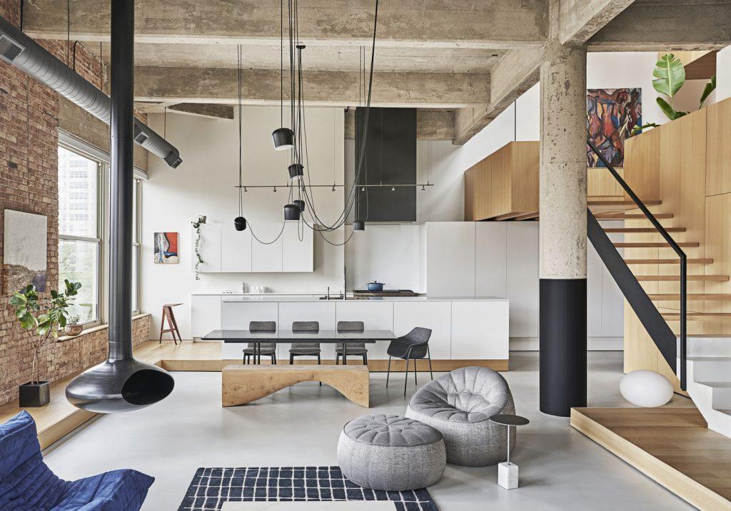 輕工業loft風開放式空間室內設計